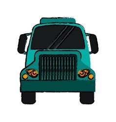 Drawing front truck transportation commercial vector