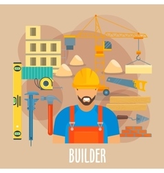 Builder worker with building work tools poster vector