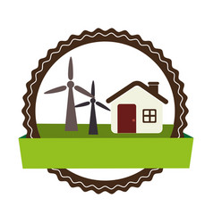 Circular landscape with cottage and eolic turbines vector