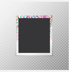 Photo frame with falling confetti vector