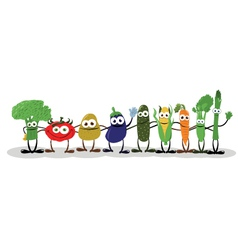Funny vegetables saying hello vector