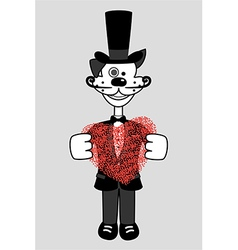 gentleman dog with heart vector image