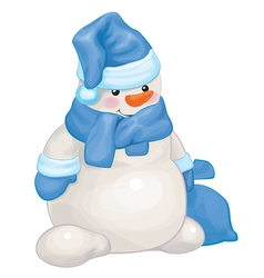 Snowman blue bag vector