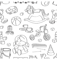 Doodle pattern toys vector