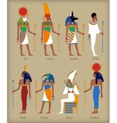 Egyptian gods icons vector
