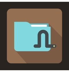 Computer worm icon flat style vector