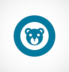 Bear toy bold blue border circle icon vector