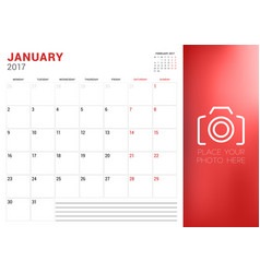 Calendar planner template for january 2017 week vector