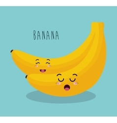cartoon banana fruit facial expression design vector image