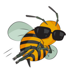 Cartoon image of bee wearing sunglasses vector