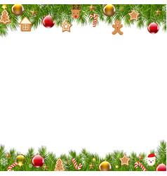 Christmas border fir tree vector