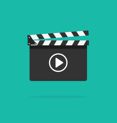 clapperboard icon isolated on color vector image