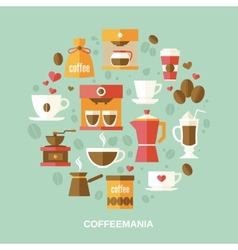 Coffee flat circle vector