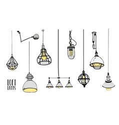 Collection of modern isolated loft lamps vintage vector