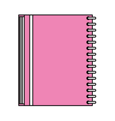 color silhouette image pink notebook spiral closed vector image vector image