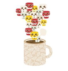 Cup with the smog of skulls vector