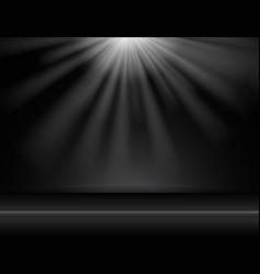 Dark black studio room background with lighting vector