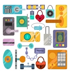 Different house door lock icons set vector