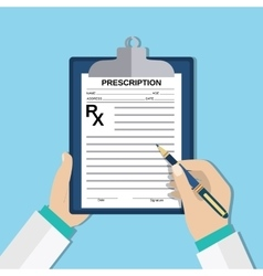 doctor hands with clipboard and pen Rx form vector image