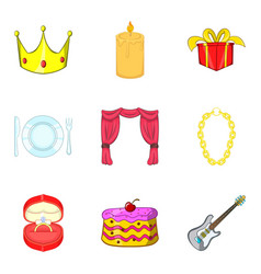 engagement icons set cartoon style vector image