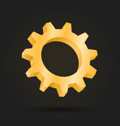 golden gear mechanism 3d cog vector image