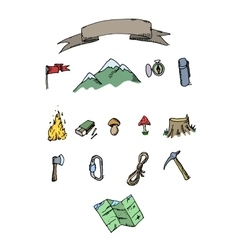 Hand drawn colored camping adventure set Doodle vector image vector image