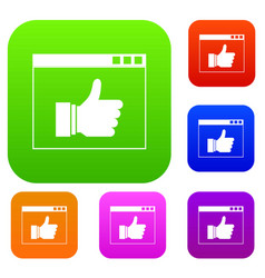 Hand with thumb up in browser set collection vector