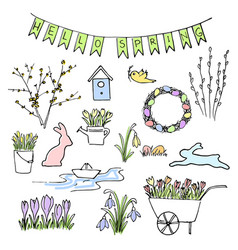 Hello spring colored sketch set first flowers vector