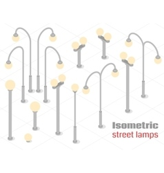 Isometric street lamps set vector image