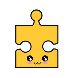 Kawaii jigsaw puzzle icon vector