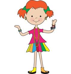 little girl jewelry vector image vector image