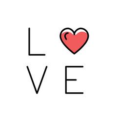 Love text icon line art design flat vector