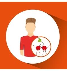 Man with cartoon fruit cherrys vector
