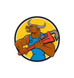 Minotaur bull plumber wrench circle cartoon vector