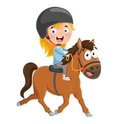 Of kid riding horse vector