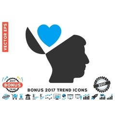 Open mind love heart flat icon with 2017 bonus vector