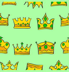 Pattern of crown gold style collection vector