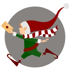 Runing christmas elf with letter vector
