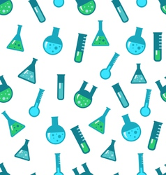 Seamless Pattern of Chemical Tubes and Flasks vector image