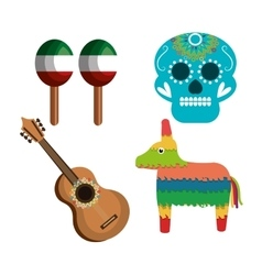 set icons culture festive mexican design vector image