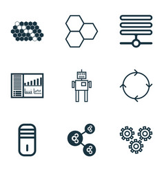 Set of 9 machine learning icons includes vector