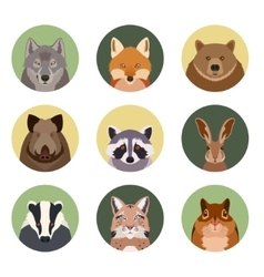 Set of flat animal icons vector image vector image