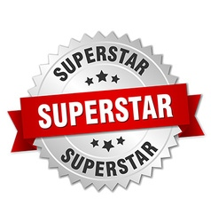 Superstar 3d silver badge with red ribbon vector