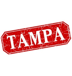 Tampa red square grunge retro style sign vector