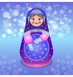 Traditional matryoshka on Christmas background vector image