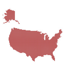 usa dotted red map abstract united states map vector image vector image