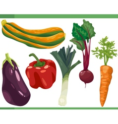 vegetables cartoon set vector image