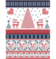Xmas pattern with birds xmas trees in red and dark vector image