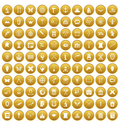 100 archeology icons set gold vector