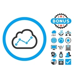 Cloud analytics flat icon with bonus vector